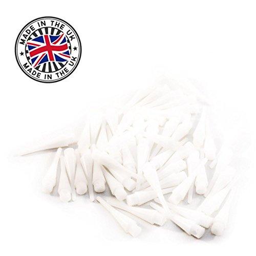 Weiße, hochwertige & langlebige Profi Dartspitzen - kurz & stabil - kleines Gewinde 2BA - Shorties Shorty Cones Kegelform für E-Dart / Soft Dart Scheiben - Menge frei wählbar - Qualitätsware