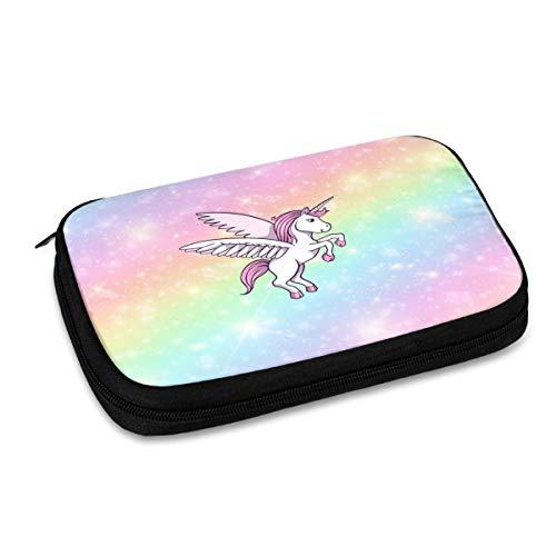 Bolso de almacenamiento digital multifuncional portátil del patrón del unicornio rosa lindo, bolso de accesorios del viaje portátil, bolsa de almacenamiento del cargador del cable de datos