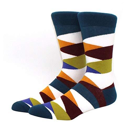 Calcetines para Hombres patrón Hip Hop Hombres Invierno Engrosamiento Largo monopatín Divertidos Calcetines Coloridos 2 Pares-a36