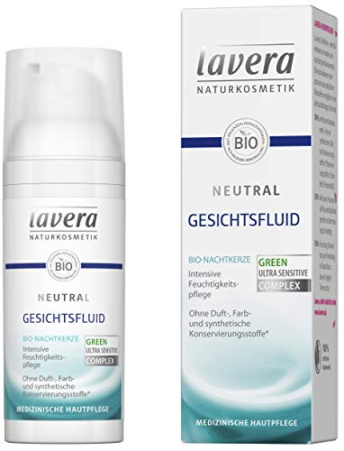 Lavera Neutral Gezichtsfluid, biologische nachtkaars, intensieve hydratatie, lichte textuur, neurodermitis, medische huidverzorging, veganistische biologische plantaardige werkzame stoffen, natuurlijke cosmetica, gezichtsverzorging, 50 ml