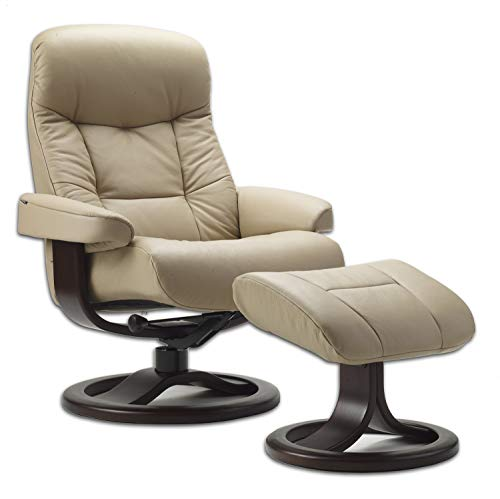 Fjords Leather Norwegian Ergonomic Scandinavian Lounge Reclining Chair