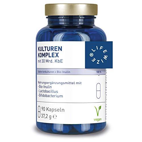 LifeWize® Kulturen Komplex 30 Mrd. KbE Lactobacillus + Bifidobacterium mit Bio Inulin - Hochdosiert, Vegan & Ohne Zusatzstoffe - Aus Deutschland
