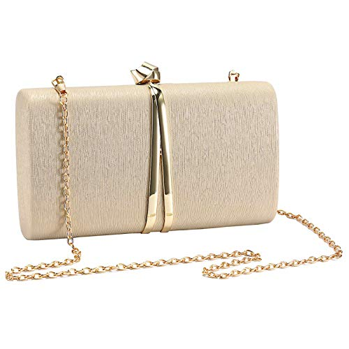 UBORSE Bolso de Fiesta Noche Moda para Mujer Embrague Hard Shell Clutches Elegante Bolso de Hombro Billetera Carteras de Mano del Banquete Boda Señoras,Dorado