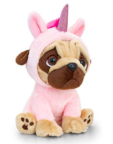 Lashuma Perro de peluche rosa con disfraz de unicornio, 14 cm