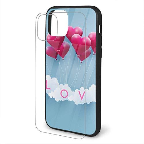 DAWN&ROSE Liefde Ballonnen met Mooie Vormen iPhone 11 TPU Glas Telefoonhoesje Serie Schokbestendig en Krasbestendig Hoesje Cover voor iPhone 11 Pro Max