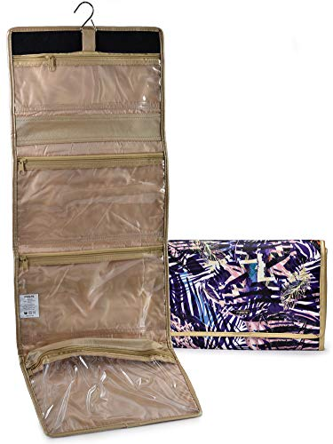 Hanging Travel Cosmetic Bag Organizer - Easily Organize Your Cosmetics, Toiletries and Jewelry While Traveling. Clear Storage Pockets with Zipper Closure and Metal Hook to Hang in Bathroom or Closet.