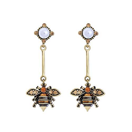 Collana a goccia con ciondolo a forma di ape, in smalto di perle di cristallo, stile vintage, stile Art Nouveau, con ciondolo a forma di ape e nastro regolabile e Lega, colore: Orecchino, N102