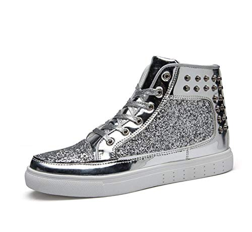 Sportschoenen High-Top Casual Schoenen Lente Herfst Dames Mode Glanzende Glitter klinknagel Gouden Sneakers Liefhebbers Schoenen