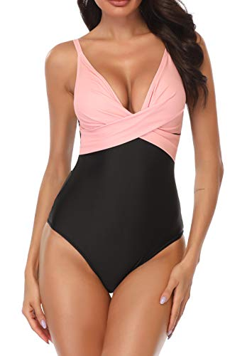 B2prity Women's Monokini Front Cross One Piece Swimsuits Tummy Control Swimwear