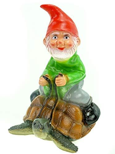 Deko Zwerg auf Schildkröte Höhe 30 cm Dekozwerg aus Kunststoff