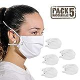 tapidecor Pack 5 Mascarillas de Tela Lavables Reutilizables3 Capas Algodón Blanco Ajuste Doble elástico