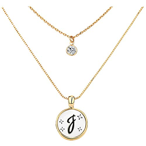 Skxinn Damen Brief Layered Necklace Gold Schöne Halskette für Unisex (F,One Size)