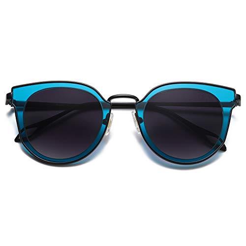 SOJOS Fashion Round Polarized Sunglasses for Women UV400 Mirrored Lens SJ1057 with Black Frame/Grey...
