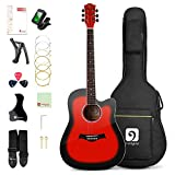 Vangoa 41 Inch Acoustic Guitar Kit Full Size, Red Cutaway Guitar Bundle with Padded Case, Tuner, Capo, Picks, Strap, Extra Strings, Study Guide for Teens Adult Beginners
