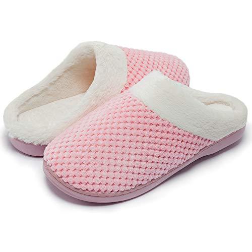 Kuako Hausschuhe Damen Winter Wärme Memory Foam Pantoffeln Bequem Plüsch rutschfeste Leicht Slippers Indoor