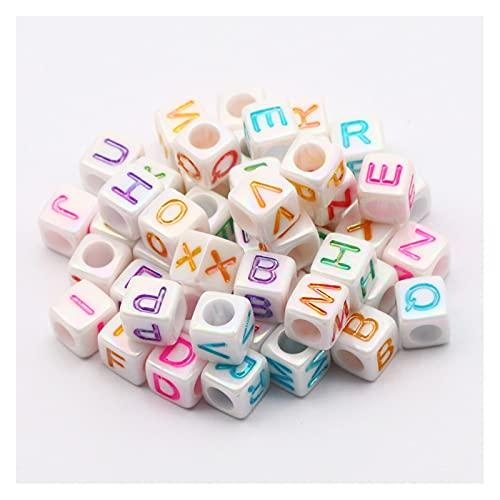 BOSAIYA SL 20 0PCS 6MM Color de Mezcla Cuadrada Cuentas de Letras acrílicas para Bricolaje Nombre de bebé Chupete Clip MateeTer Cadena Haciendo Perlas Sueltas T901