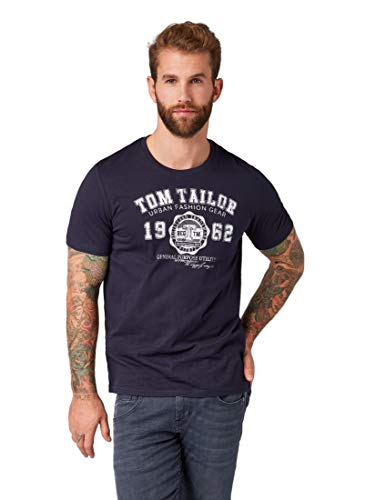 TOM TAILOR Herren T-Shirts/Tops T-Shirt mit Logo-Print Knitted Navy,XXL