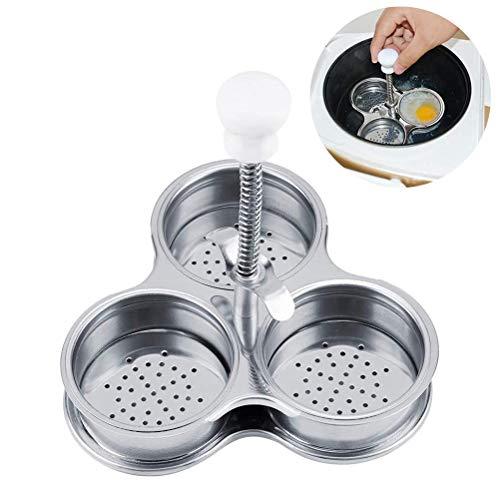 AGAWA Cozedor de ovos para 3 cavernas, caldeira de ovos de aço inoxidável cozido, vaporizador para cozinhar ovos e cozinha