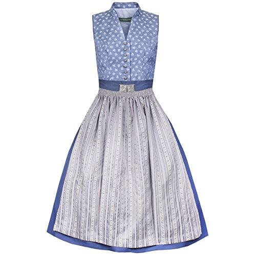 Country-Line Damen Trachten-Mode Midi Dirndl Patricia in Blau traditionell, Größe:38, Farbe:Blau