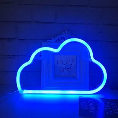 QiaoFei Nube de luz de neón, lámpara de decoración para el hogar, decoración de Pared para Navidad, Fiesta de cumpleaños, Sala de niños, Sala de Estar, decoración de Fiesta de Bodas (Azul)