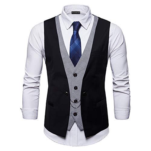 YCUEUST Chaleco Hombre de Vestir Traje Boda Ceremonia Waistcoat Blazers Sin Mangas Negro XXX-Large