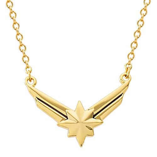 Marvel's Captain Marvel Hala Star Logo Yellow Gold Plated Necklace, 18' chain