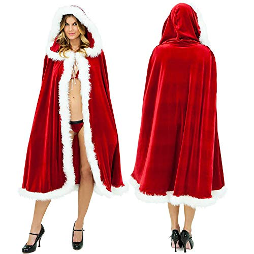 Mcree Womens Fur Trim Christmas Santa Claus Cloak Xmas Costume Red Bridal Cape Cloak Ladies Dress Cape Winter Wedding Hooded Clock (90cm)