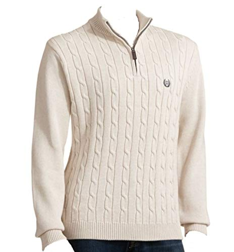 Chaps Mens Classic-Fit Lightweight 1/4 Zip Sweater Solid Oatmeal (Small)