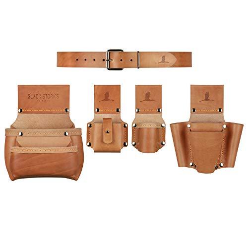 Handwerker Werkzeuggürtel Komplett-Set aus Leder, Gürtelgröße S, Taillenumfang 70-80cm