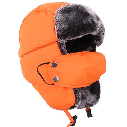 Beurio Orange Ushanka Russian Snow Winter Hunting Fur Hat