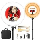 LED Ringlicht, FOSITAN 14-Zoll/36 Zentimeter Ring Licht Set, 50W Bi-Farbe 3200-5900K 384 SMD mit 2M Standfuß, Bluetooth-Empfänger für Smartphone, für YouTube Self-Porträt Videoaufnahme...