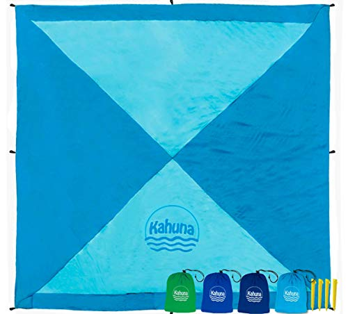 Large Beach Blanket Sandproof - Compact Sand Free Beach Blanket, Beach Sheet, Picnic Blanket, Beach Tarp Blanket. Durable, Lightweight Nylon. With Stakes and Sand Anchor Pockets –by KAHUNA -Light Blue