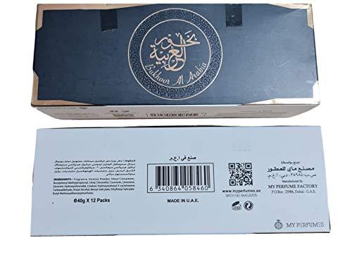 MY PERFUME Paquete de 12 piezas de 40 g de incienso Bakhoor Bukhoor al Arabia, fabricado en EAU Bakhoor