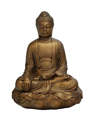 Buddha Groove Artistic Statue of Buddha in Earth Touching Pose with Bronze Colored Finish and Made of Bonded Stone   Indoor Placement   11.5 x 9 x 6 Inches