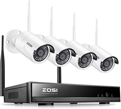 ZOSI H.265+ 8Channel Wireless Security Cameras System,8CH 1080P Surveillance NVR and 4pcs HD 1080P 2.0MP Weatherproof Outdoor WiFi IP Cameras with 80ft Night Vision, Motion Alert, No Hard Drive