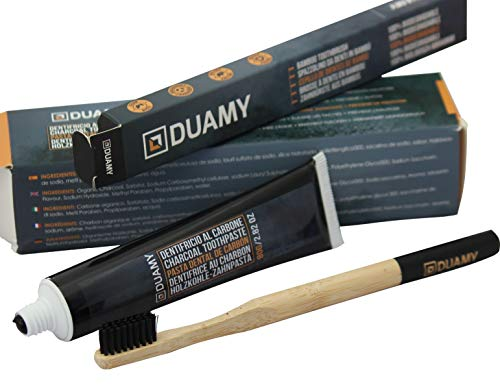 Pasta de dientes blanqueadora de carbon activo. Blanqueador carbón activado + cepillo de dientes de bambú 100% biodegradable. Dentífrico blanqueador. Kit pasta para blanqueamiento dental 80 gr.