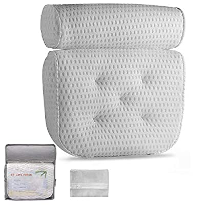 Bathtub Pillow, Luxury Bath Pillows For Tub With 4D Air Mesh Technology, Bath Accessories For Women Men, Extra Thick, Soft & Quick Dry Ergonomic Comfort Spa Bath Pillows For Tub Neck And Back Support