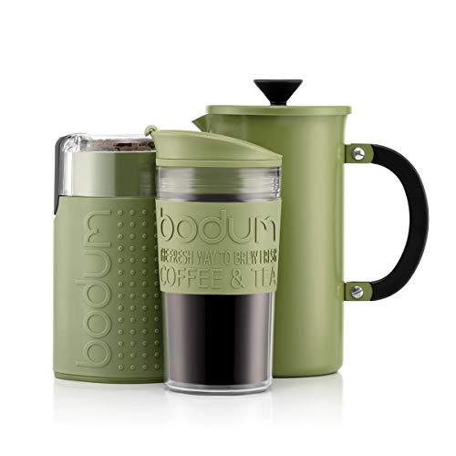BODUM-KAFFEESET – Cafetière-Kaffeebereiter (1 Liter/8 Tassen) aus Edelstahl, doppelwandiger Reisebecher und elektrische Kaffeemühle - Grün