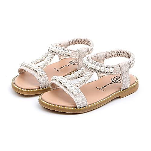 AKPO Chicas Perla Sandalias Bebita Punta Cerrada Zapatos De Princesa Moda Zapatillas de Baile White-19/20 EU