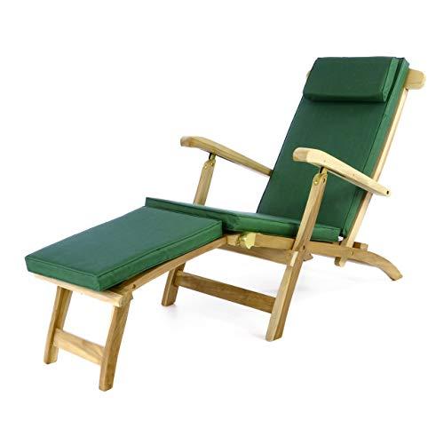 Divero Divero eleganter Deckchair Florentine Liegestuhl Steamer Chair Teakholz unbehandelt inkl. Liegenauflage mit Kopfteil dunkelgrün wasserabweisend