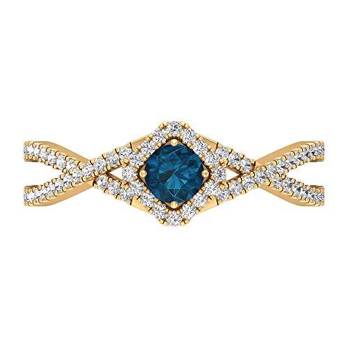 Anillo de diamante y topacio azul Londres de 3/4 quilates, anillo de compromiso con halo solitario con piedras laterales, 14K Oro amarillo, Size:EU 70