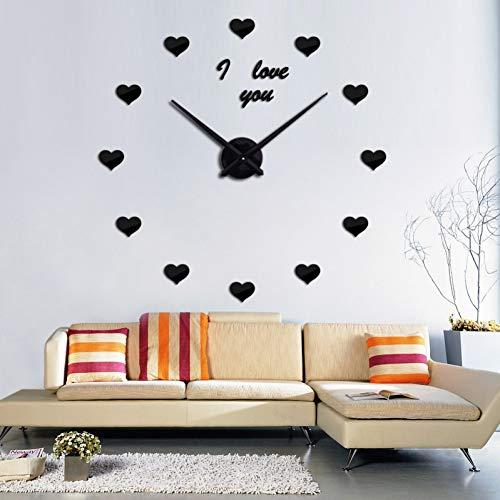 Fnito Reloj de Pared de Bricolaje Moda orologio da parete Specchio acrilico Grande orologio al quarzo Ancora Vita Aghi orologi moderni adesivi decorazione Della casa soggiorno 37inch Negro
