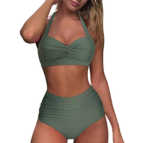 Dtuta Damen Bikini Set Sommer Badeanzug mit Sport Strandkleidung Triangel Bikinihose -Sexy Bademode Strandwear Strandmode -Bikinioberteil High Waist Sportlich Bauch FüR Mä Dchen Teenager