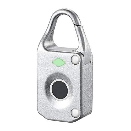 Smart Door Lock Electronic Smart Fingerprint Padlock Outdoor Travel Suitcase Bag Lock (Color : Silver, Size : One size)