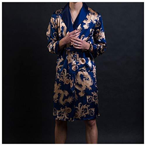 GJF pyjama heren lente en herfst slaapmode zijde satijn lange mouwen nachtjapon dunne sectie zomer lange badjas