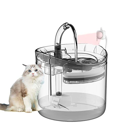 1.8L Automatic Cat Water Fountain High Density Filtration Ultra Quiet Dogs Water Dispenser Drinker with Tap for Cat Health Care,Clear