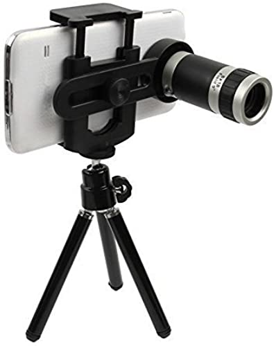 Inditradition 360 Rotating Mobile Camera Lens Kit with Tripod Stand 8X Optical Zoom HD Quality Black Compatible with All Phones