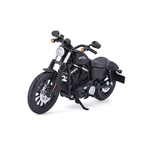 Bauer Spielwaren 2049731 Maisto Harley-Davidson Sportster Iron 883: Originalgetreues Motorradmodell 1:12, mit beweglichem Ständer und Lenkung, schwarz (532326)