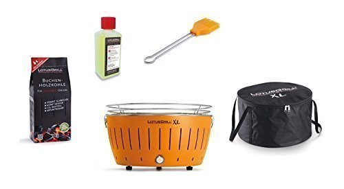 LotusGrill Barbecue XL Kit de démarrage 1x Lotus Barbecue charbon de bois de hêtre XL Mandarine Orange 1x 1kg, 1x Pâte combustible 200ml, 1x Pinceau Mandarine Orange, 1x XL Sacoche de transport