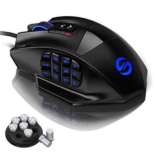 UtechSmart Venus -gaming maus mmo maus razer naga 12 tasten 16400 dpi USB Laser Gaming Mouse | 18 Tasten | 16400 dpi Abtastrate | High Precision | konfigurierbare LED-Farb-Beleuchtung | Avago Sensor Technology | MMO Gaming | inkl. software (programmierbare Tasten) | bis zu 30G Beschleunigung | ergonomisches Design